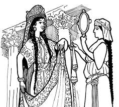Esther Queen Look Into Mirror Coloring Pages