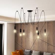 homcom deckenleuchte kronleuchter mit 6 verstellbaren armen und 6 glühbirnen leuchte in spinnenform für esszimmer wohnzimmer stahl schwarz