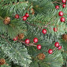Silvertip Fir Christmas Tree Artificial by Holiday 7 5 Ft Unlit Decorated Pine Cones U0026 Red Berries Yonkers
