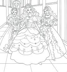 Girls Coloring Pages Barbie Three Princess Girly Girl Skull Halloween