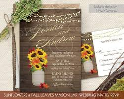 Fall Wedding Invitations Set Sunflowers Leaves Rustic Mason Jar Country On Barn Wood Digital Printable DIY File