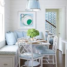 White And Blue Breakfast Room With Bamboo Chairs