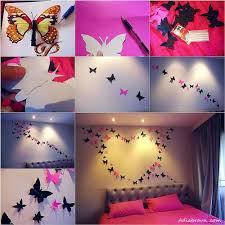 Use Butterfly Decorations Made Of Paper To Improve The Look Your Bedroom 16 Awesome And Easy DIY Wall Decorating Ideas