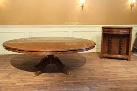 Large Round To Walnut Dining Table With Buffet Leaf Storage