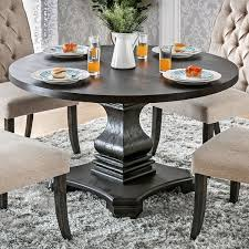 Furniture Of America Lucena Antique Black Wood Traditional Farmhouse Style Pedestal Base Round Dining