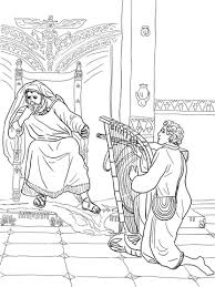 Click To See Printable Version Of David Plays The Harp For Saul Coloring Page