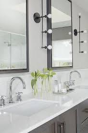 gray wash double washstand with industrial 4 light linear wall