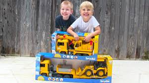 Toy Truck Videos For Children - Toy Bruder Backhoe Excavator, Crane ...