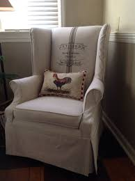 Wingback Chair Slipcover In Painters Drop Cloth With French ...