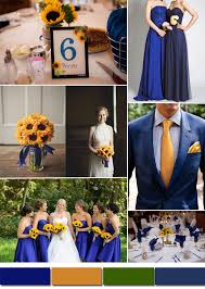 Royal Bue And Dark Yellow Wedding Color Schemes Bridesmaid Dresses Styles