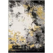 Shuff Charcoal Mustard Yellow Gray Area Rug