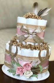 Deer Antler Diaper Cake Shabby Chic Boho Rustic Burlap Lace Pink Gold Woodland Floral Feathers Baby Shower Fall Centerpiece Decor 2 Tier