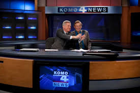 KOMO 4 Anchor Dan Lewis Takes His Photo With Senior Reporter Bryan Johnson During Johnsons Final