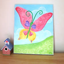 Baby Girl Nursery Art BIG BUTTERFLY 11x14 Childrens Wall Original
