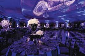 Wedding Reception With Purple Lighting And Rose Design Ceiling