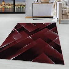 kurzflor design teppich wohnzimmerteppich 3 d muster dreiecke soft flor rot farbe rot grösse 160x230 cm