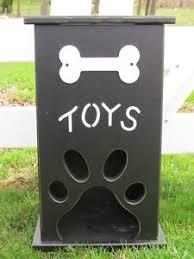 handmade pet toy box wood dog cat storage w bone paw print custom
