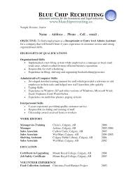 Receptionist Objective Resume Example For