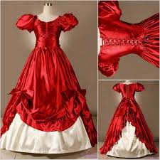 Classic Red Vintage Bowed Corset Victorian Medieval Southern Belle Princess BALL GOWN Marie Antoinette Gothic