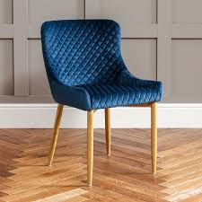 The Furniture Market Paloma Blue Velvet Dining Chair With ...