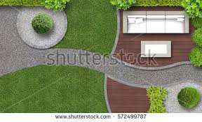 Garden Design In Top View Including Furniture