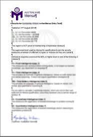 Full report on Test results Australian Mensa Inc