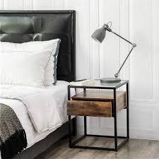 boxspringbett mit nachttisch im industrial style aus holz