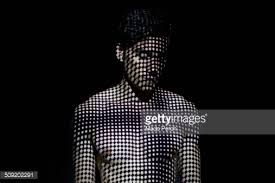 Young Man Covered By Abstract Patterns Light Stock