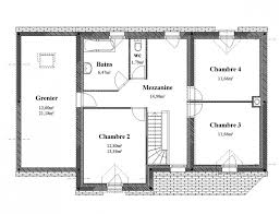 plan maison 4 chambres etage maison 4 pans etage