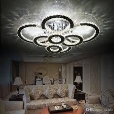 großhandel moderne kreative led deckenleuchte wohnzimmer schlafzimmer ring kristall kronleuchter innen led leuchten dimmen deckenleuchten ac110 240v
