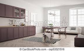 minimalistische moderne küche mit esstisch und wohnzimmer