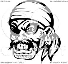 Clipart An Angry Black And White Pirate Face With An Eye Patch
