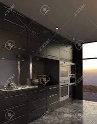 3d rendering der modernen luxus küche interieur