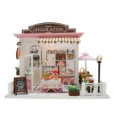 Doll House Kit Diy Miniature Wooden Handmade House Cake Shop Kids