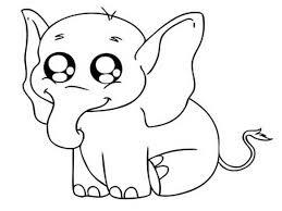 Preschool Coloring Pages Elephant Baby Cartoon