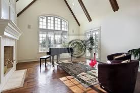 fototapete wohnzimmer mit holzbalken an der decke