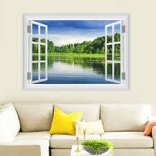 3d fenster natur baum wasser blau sky wand aufkleber wohnkultur wohnzimmer schlafzimmer pvc wand decals diy wandbild kunst poster
