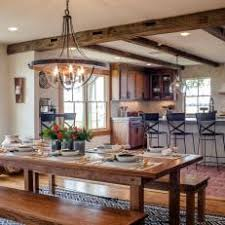 Rustic Dining Table And Bench Seating Creates Design Focal Point In Room
