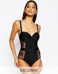 wolf u0026 whistle bustier black lace corset lingerie like swimsuit