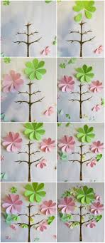 How To Make 3d Paper Artwork Flowers Pink Green Tree Tutorial Art Template Birds