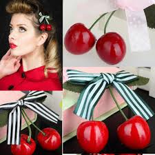 cherry bow hair clip for pinup girls retro vintage rockabilly