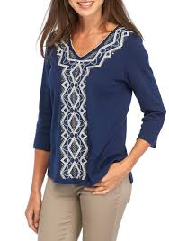 alfred dunner gypsy center diamond embroidered knit top belk
