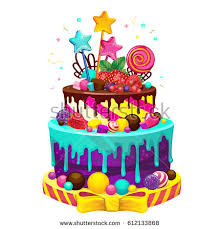 Happy birthday cake Bright vector isolated illustration of a festive party cake