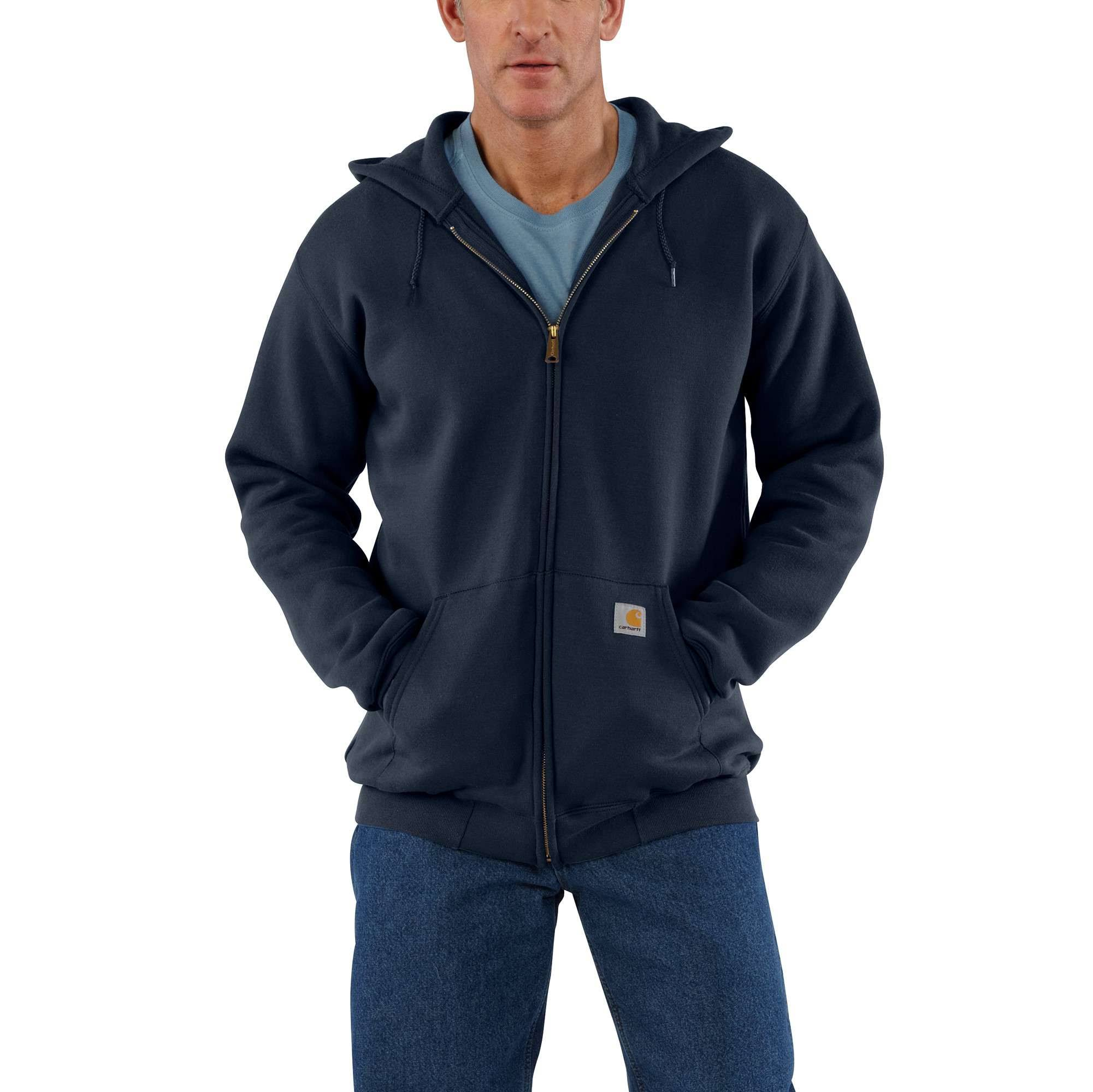 Carhartt Men's Midweight Zip Front Hooded Sweatshirt K122 - Navy, Large