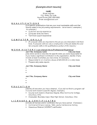 Examples Of A Short Resumes