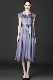 jhonpeter women silk printed top bow waist prom night dress gray