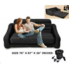 intex inflatable pull out sofa queen bed mattress sleeper black