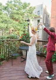 BHLDN Chicago Bride Pink Ombre Dress Groom In Custom Maroon Suit Pre Wedding Photoshoot Flower Girl