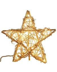 Gold Christmas Tree Tinsel Icicles by Gold Rattan Star Christmas Tree Topper Treetopia