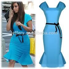 modele de robe de bureau bureau dame formelle robe fahion à volants ol robe avec ceinture